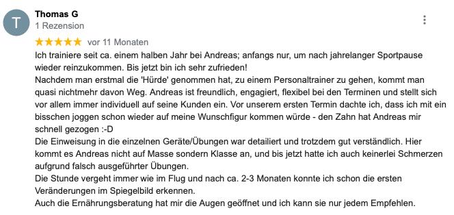 Feedback zum Personaltrainer von Thomas G aus Karlsruhe