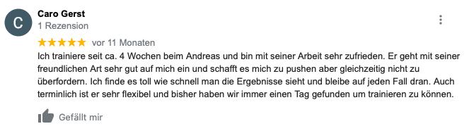 Feedback zum Personaltrainer von Caro Gerst aus Karlsruhe
