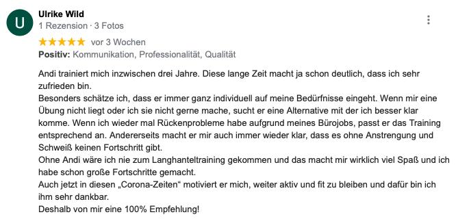 Feedback zum Personaltrainer von Ulrike Wild aus Karlsruhe